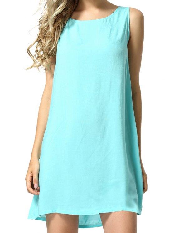 buy Back Lace Splicing Sleeveless Dress - LIGHT BLUE S