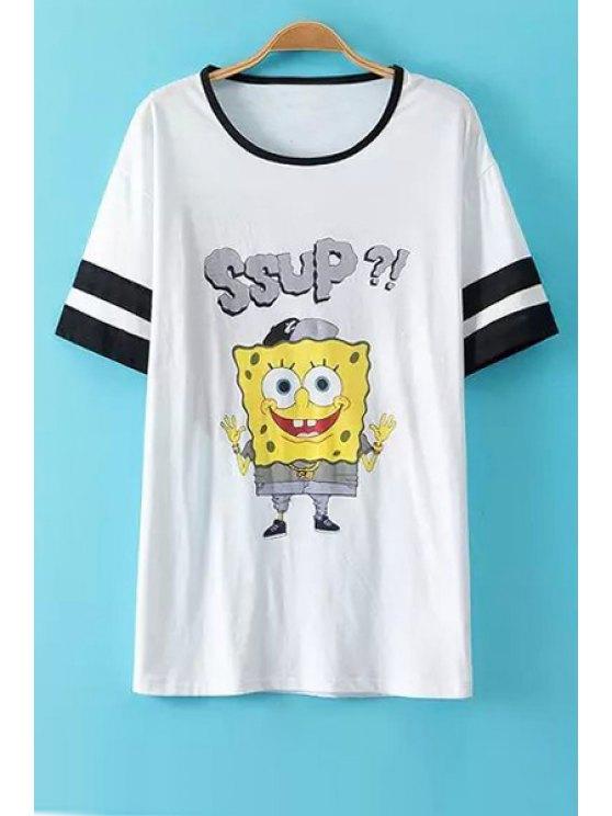 sale Cartoon Pattern Short Sleeves T-Shirt - WHITE S