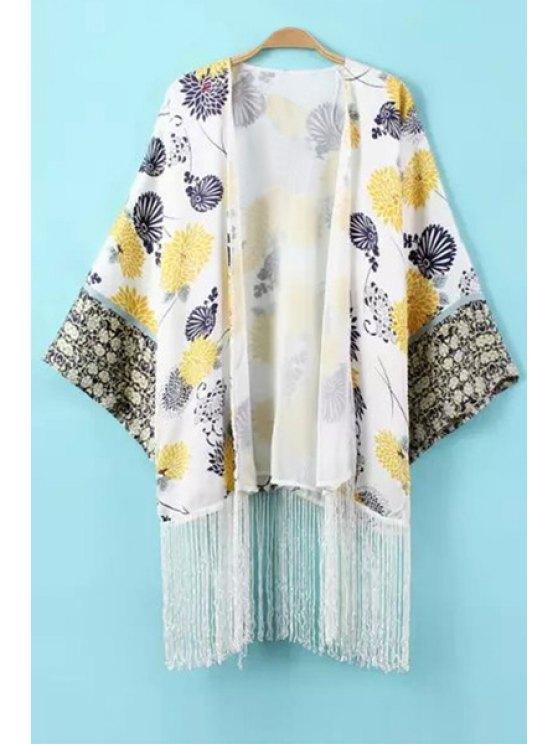 shops Floral Tassels Long Sleeve Blouse - WHITE S