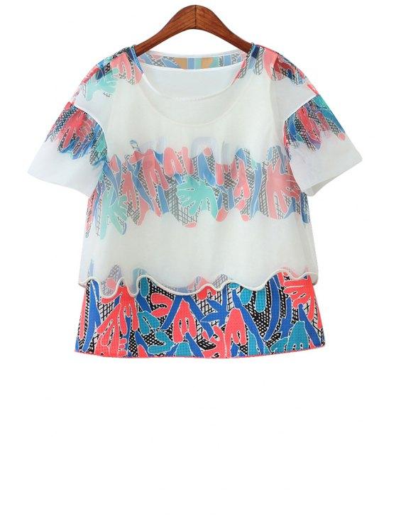 women Print Spliced Short Sleeve T-Shirt - WHITE S