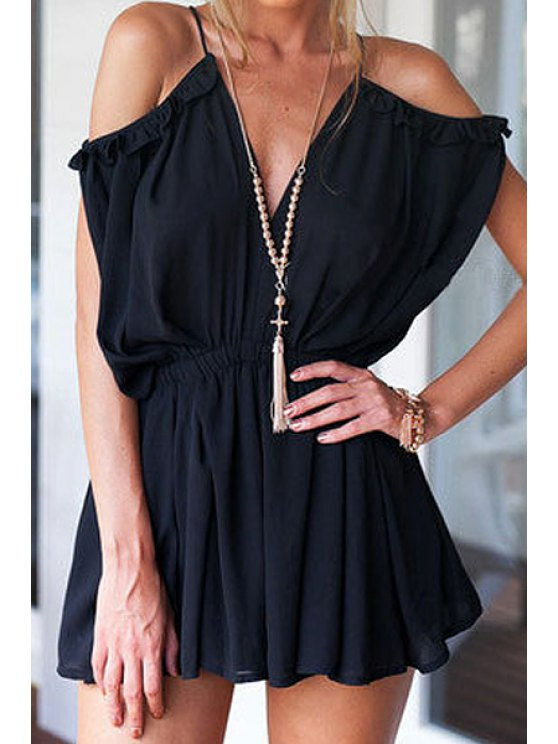 outfits Solid Color Flounce Splicing Backless Romper - BLACK S