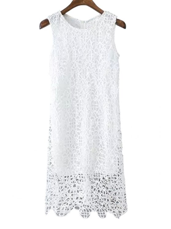 new White Crochet Hollow Sundress - WHITE L