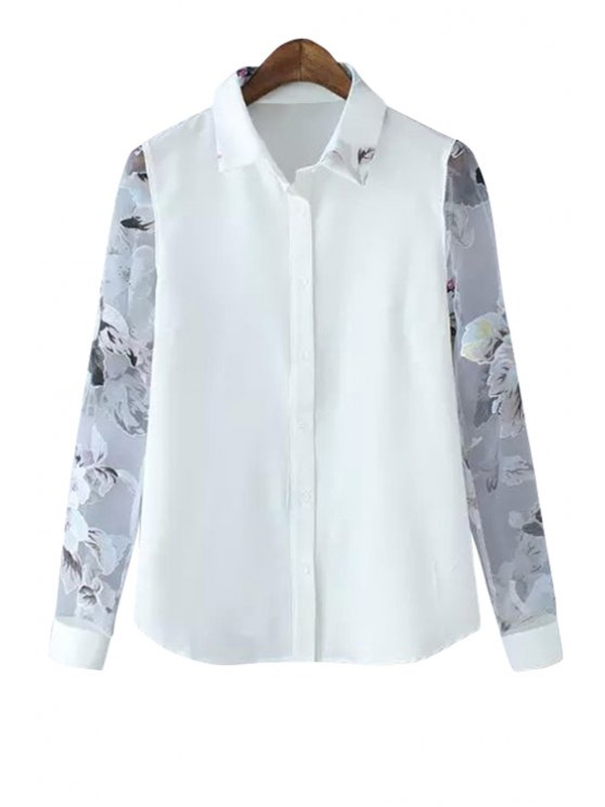 women Floral Print Voile Spliced Shirt - WHITE S