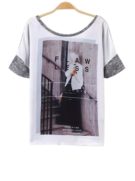 latest Figure Print Color Block T-Shirt - GRAY S