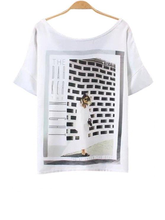 chic Figure Print Short Sleeve White T-Shirt - WHITE S
