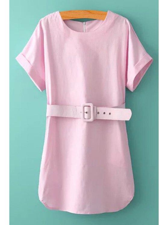 sale Pink Short Sleeve with Belt Dress - LIGHT PINK S