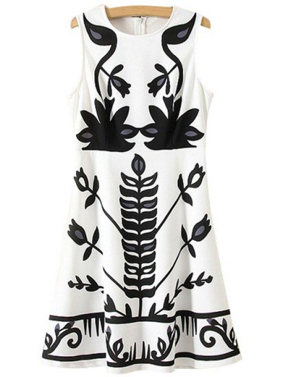 shops Black Floral Print Sleeveless Dress - WHITE S