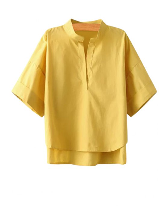 best Solid Color V-Neck Half Sleeve Blouse - YELLOW ONE SIZE(FIT SIZE XS TO M)