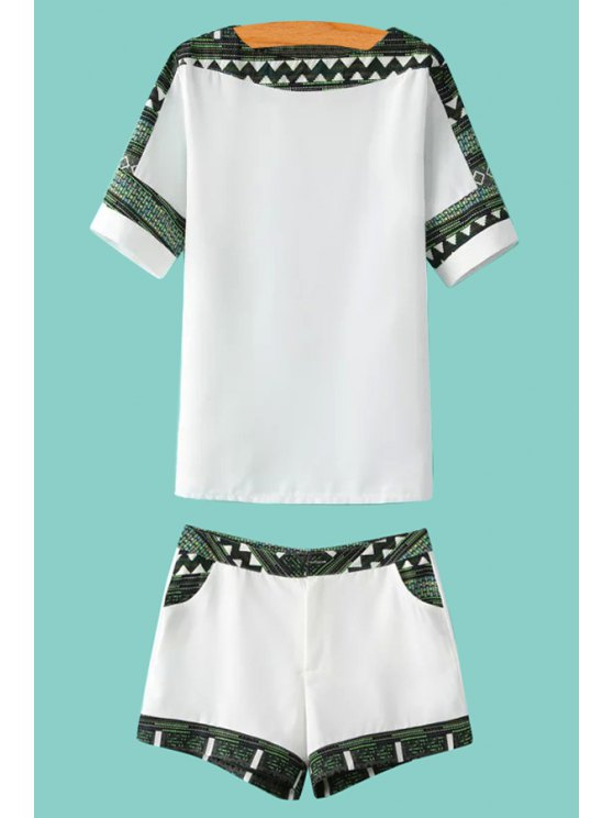 chic Print Spliced Short Sleeve T-Shirt and Shorts Suit - WHITE S