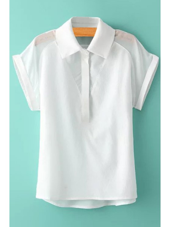 new Spliced Solid Color Short Sleeve Shirt - WHITE M