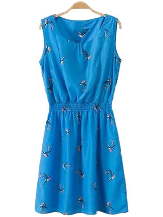 chic Swallow Print Sleeveless Dress - ROYAL BLUE S