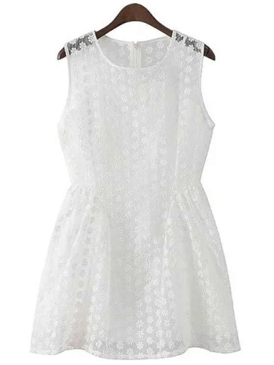 women's Jewel Neck Floral Embroidery Dress - WHITE S