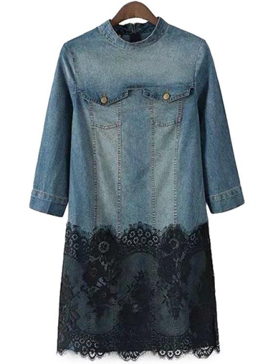 hot Lace Splicing Bleach Wash Denim Dress - BLUE AND BLACK L