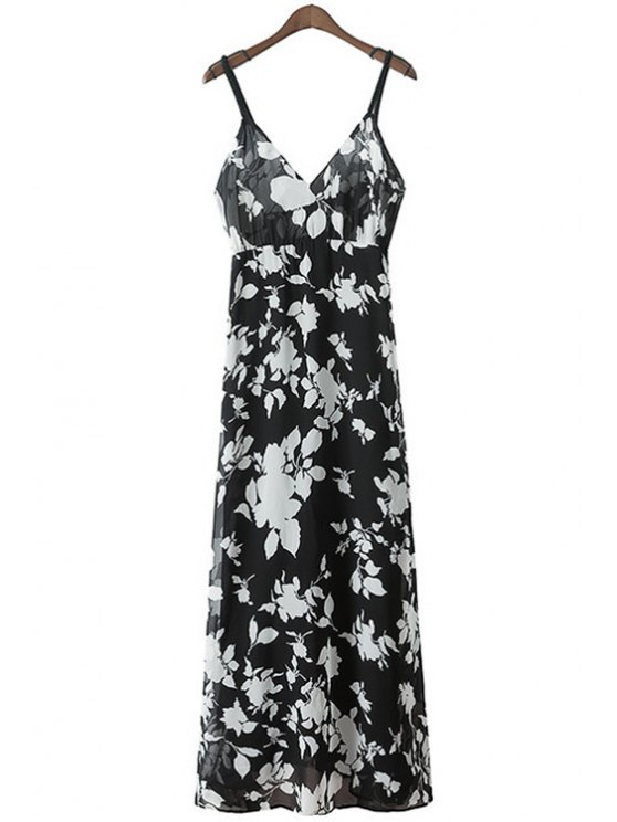 new Spaghetti Strap Floral Print Maxi Dress - WHITE AND BLACK S