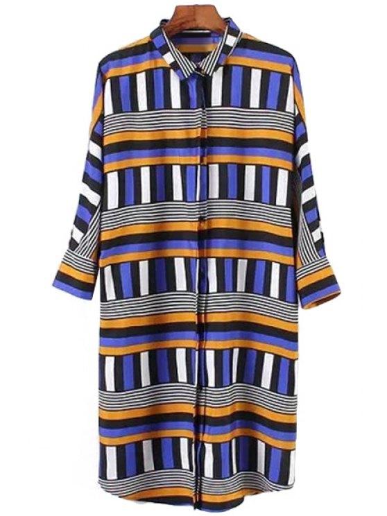 unique Polo Collar Color Block Stripe Shirt - BLUE S