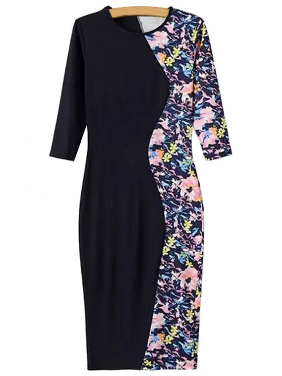 outfits Black Splicing Floral Print Half Sleeve Dress - BLACK S