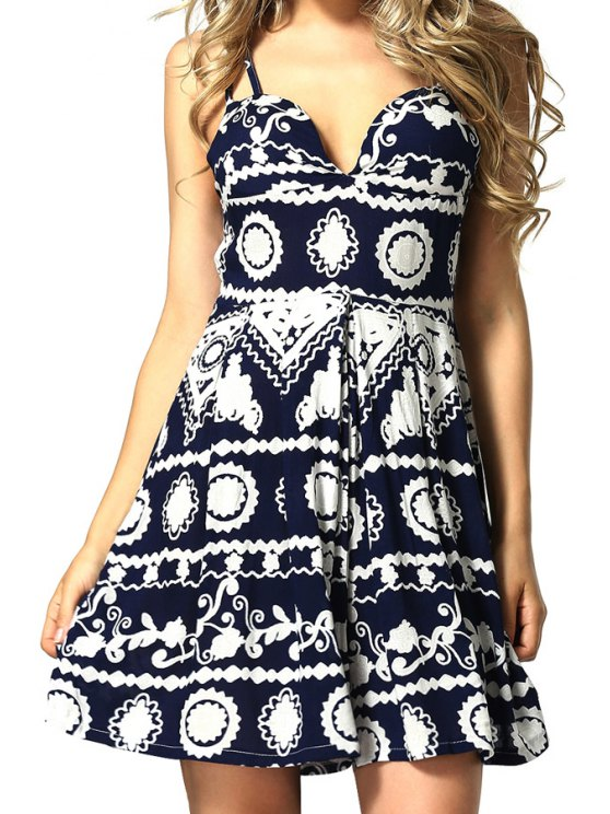 womens Print Spaghetti Straps A-Line Dress - BLUE S