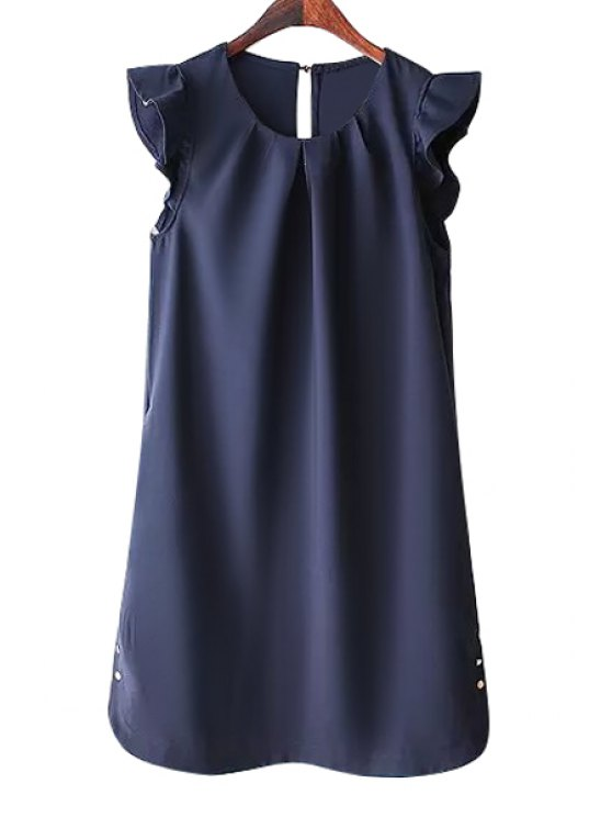 best Solid Color Flounce Buttons Embellished Dress - PURPLISH BLUE S