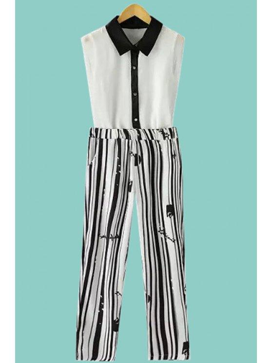 trendy Striped Capri Pants and Sleeveless Shirt Suit - STRIPE S