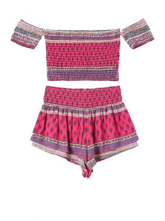 outfits Slash Neck Ethnic Print T-Shirt and Shorts Suit - ROSE S
