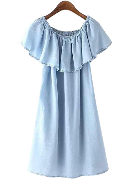 new Blue Ruffles Denim Dress - BLUE S