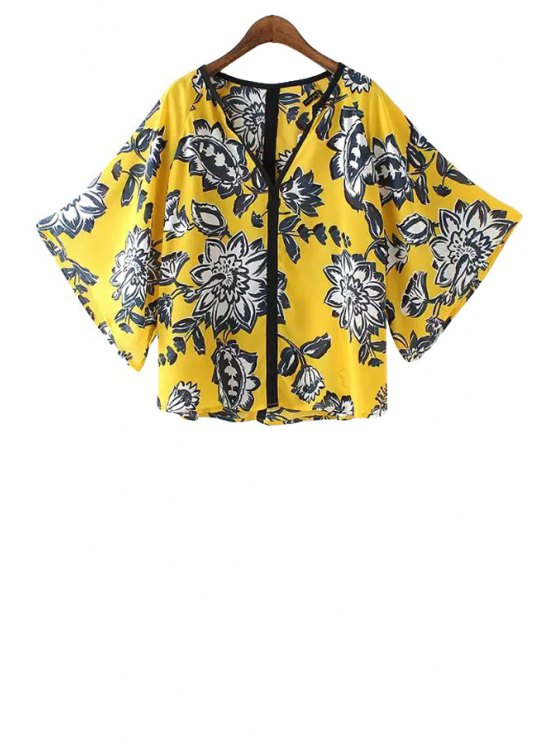 hot Bat-Wing Sleeve Floral Print Blouse - YELLOW S