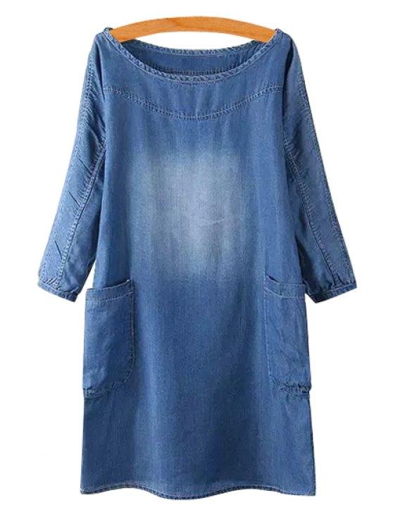 sale Bleach Wash Two Pockets Denim Dress - BLUE M