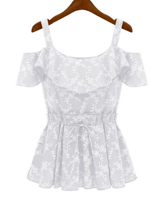 buy Floral Embroidery Flounce Splicing Blouse - WHITE S
