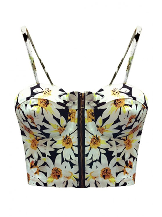 womens Flower Print Spaghetti Straps Crop Top - BLACK ONE SIZE(FIT SIZE XS TO M)
