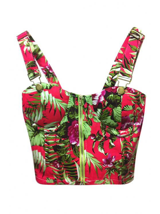 women's Floral Print Red Straps Crop Top - RED ONE SIZE(FIT SIZE XS TO M)