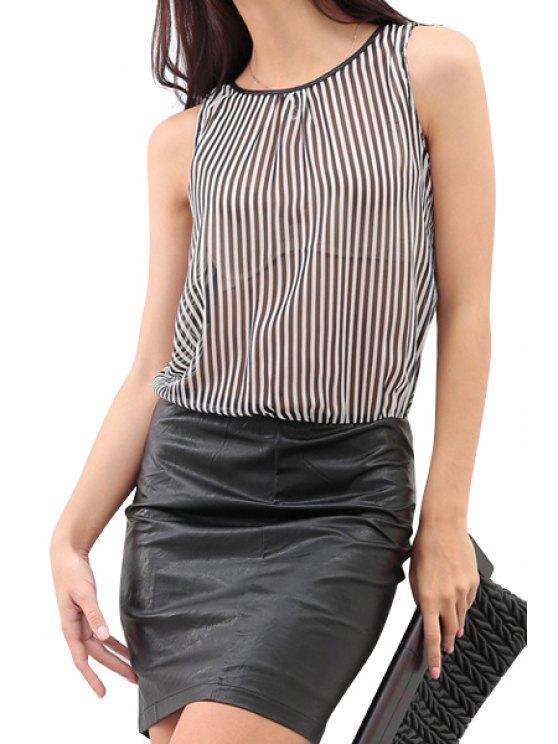 women Stripe Chiffon Splicing PU Leather Dress - WHITE AND BLACK S