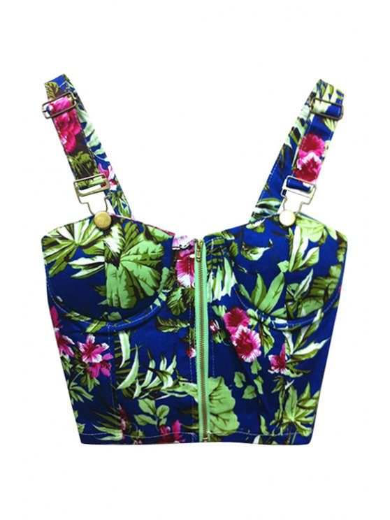 lady Floral Print Blue Straps Crop Top - BLUE ONE SIZE(FIT SIZE XS TO M)