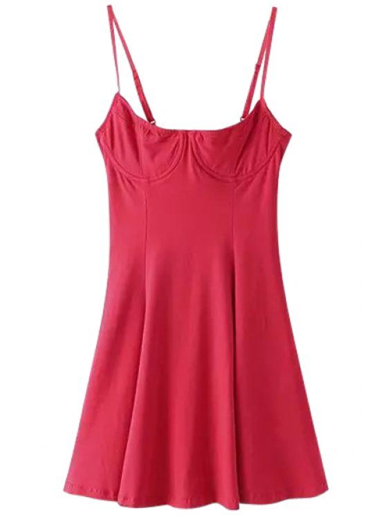 online Spaghetti Strap Solid Color Dress - RED S