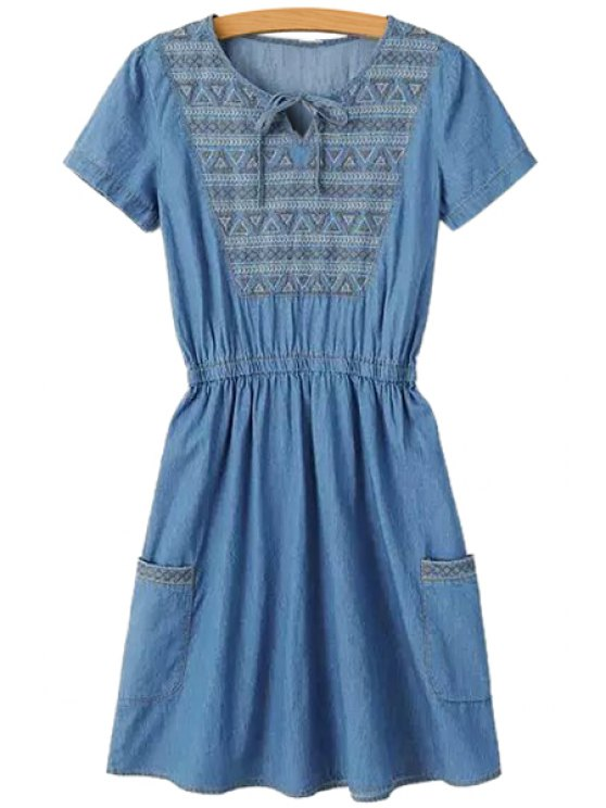 outfits Embroidery Pockets Denim Dress - BLUE S