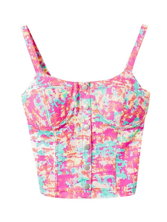 chic Colorful Print Straps Crop Top - PINK ONE SIZE(FIT SIZE XS TO M)