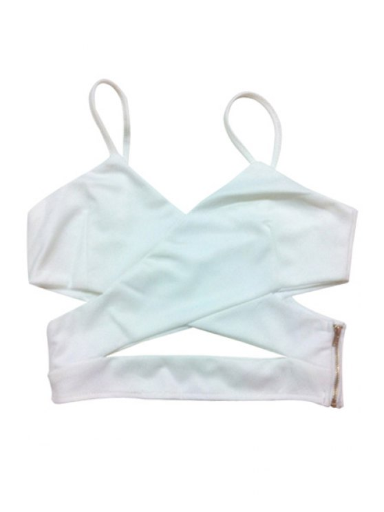 hot Spaghetti Strap Solid Color Zipper Tank Top - WHITE ONE SIZE(FIT SIZE XS TO M)