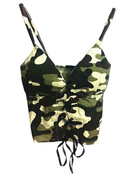 affordable Spaghetti Strap Camouflage Print Tie-Up Tank Top - CAMOUFLAGE COLOR ONE SIZE(FIT SIZE XS TO M)
