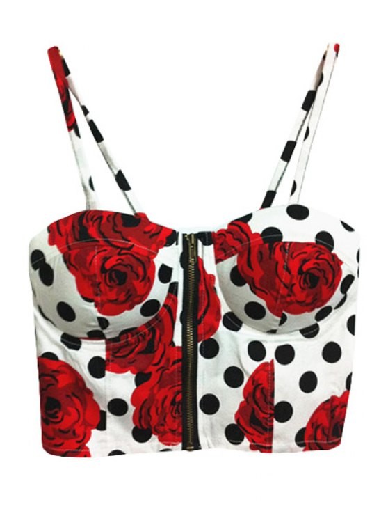 women Rose Print Polka Dot Tank Top - WHITE ONE SIZE(FIT SIZE XS TO M)