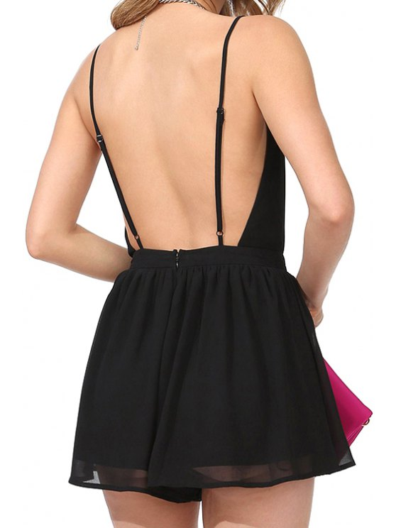 trendy Backless Solid Color Sleeveless Romper - BLACK S