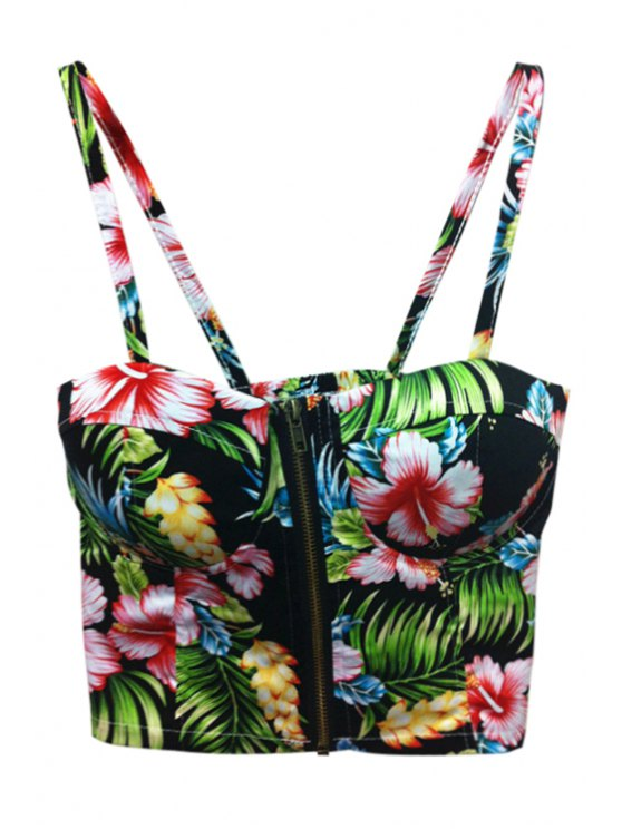 women's Floral Zipper Spaghetti Straps Crop Top - BLACK ONE SIZE(FIT SIZE XS TO M)