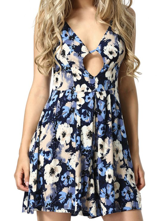 shop Floral Pattern Sleeveless Romper - ICE BLUE S