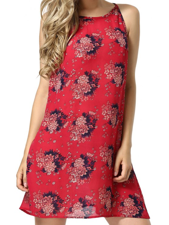 chic Floral Print Spaghetti Straps Red Dress - RED S