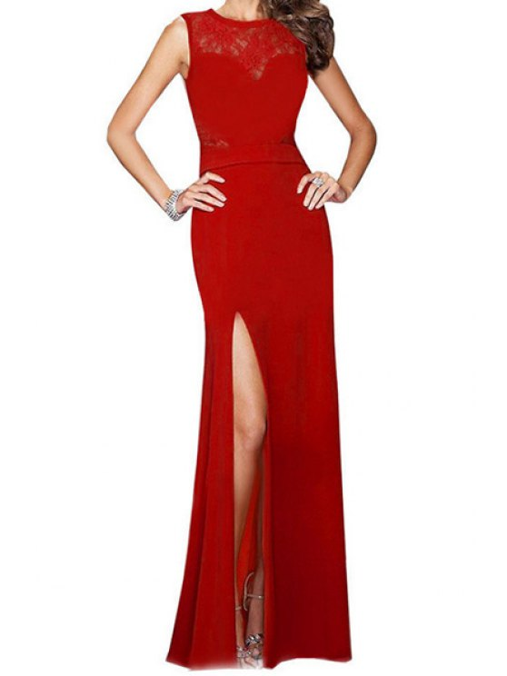 best Red Lace Spliced Sleeveless Maxi Dress - RED S
