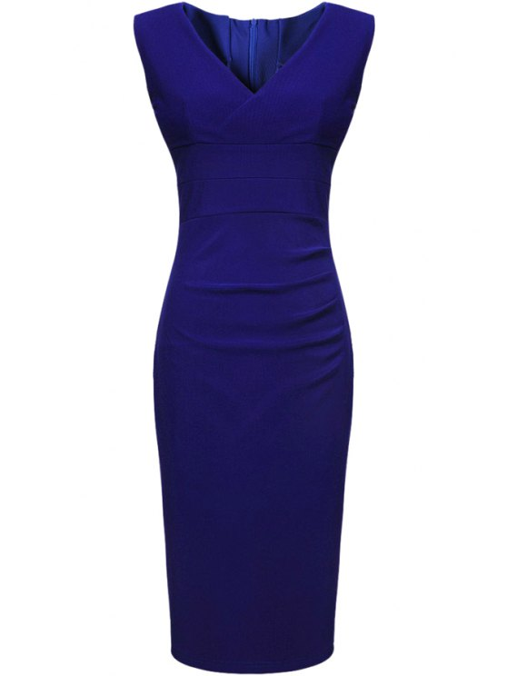 lady Blue V-Neck Sleeveless Dress - SAPPHIRE BLUE L