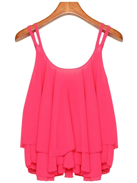 shop Solid Color Layered Spaghetti Straps Tank Top - ROSE M