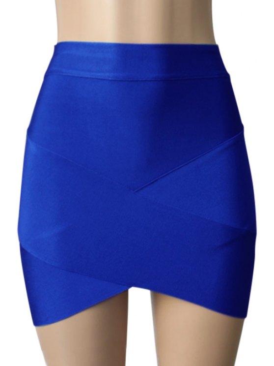 unique Bandage Solid Color Bodycon Skirt - SAPPHIRE BLUE M
