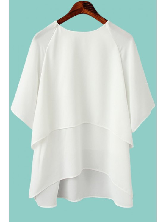 shop Solid Color Asymmetrical Half Sleeve Blouse - WHITE M