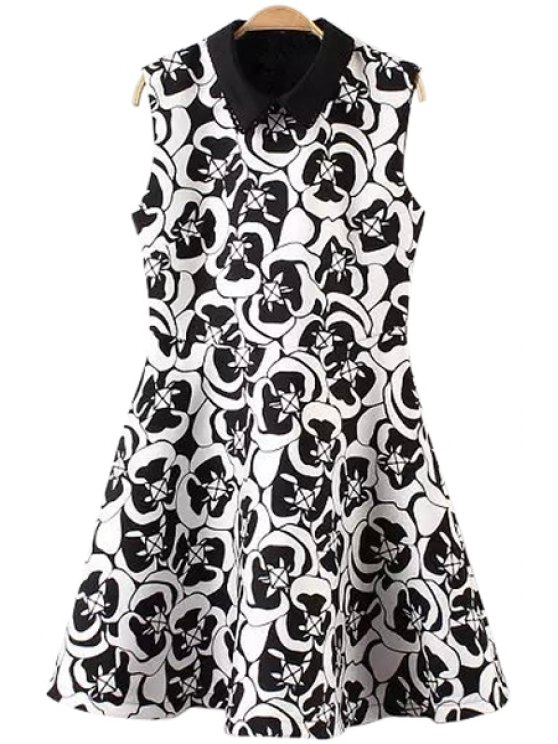 fancy Turn-Down Collar Color Block Print Dress - WHITE AND BLACK S
