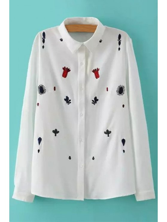 unique Turn-Down Collar Embroidery Shirt - WHITE M