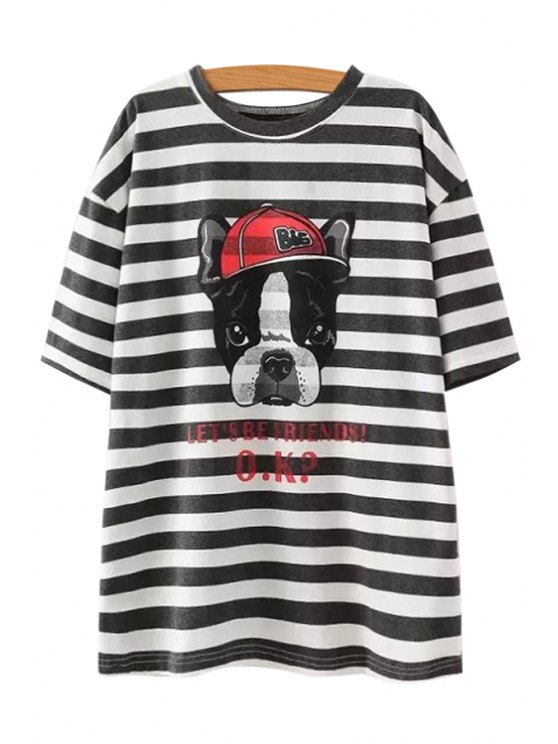 outfit Stripe Dog Letter Print T-Shirt - BLACK ONE SIZE(FIT SIZE XS TO M)